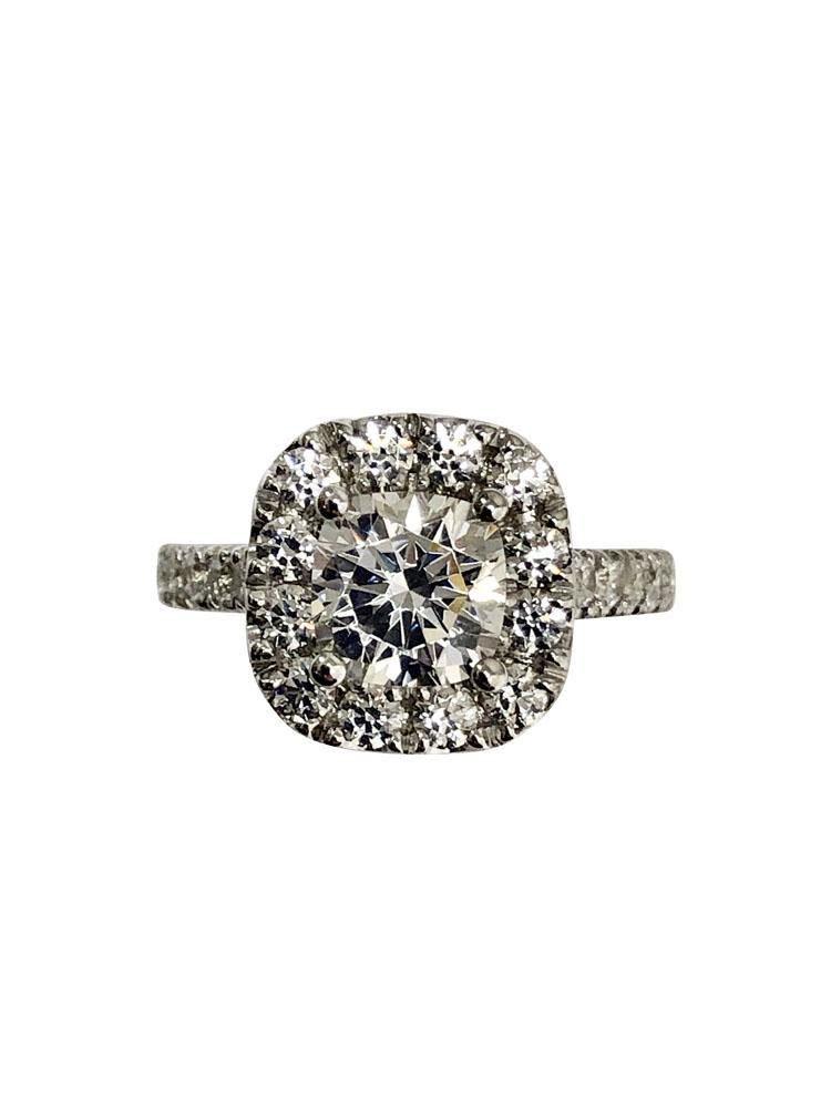 1.25 Cubic Zirconia Cushion Cut Engagement Ring