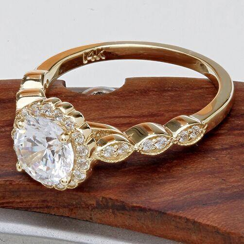 1.25 Highest Quality Cubic Zirconia Halo 14k Yellow Gold Engagement Ring