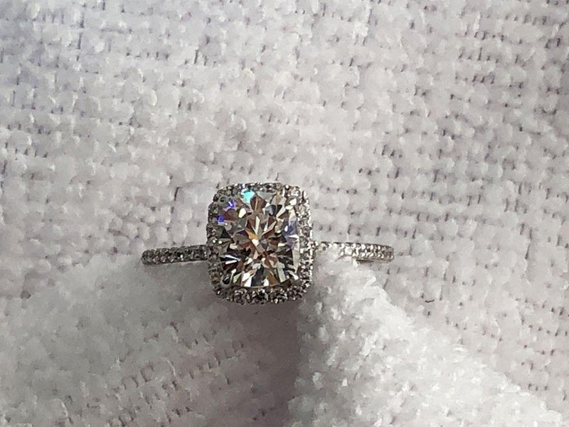 Radiant Cushion Cut Highest Quality Cubic Zirconia Micro Pave Engagement Ring