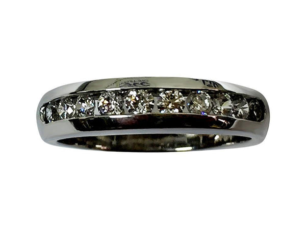 Channel Set Cubic Zirconia Round Stone Wedding Band 14K White Gold