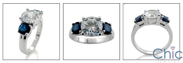 Cubic Zirconia 3 Stone Ring 2 Ct Round Center And Sapphires 14k White Gold
