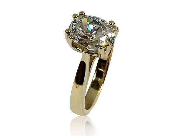 3 Carat Oval Highest Quality Cubic Zirconia Solitaire Ring 14K Yellow Gold
