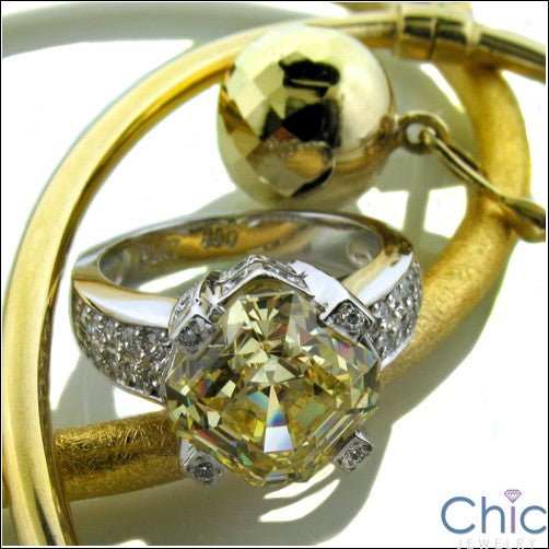 Engagement Canary Asscher 3 Ct Pave Cubic Zirconia Cz Ring