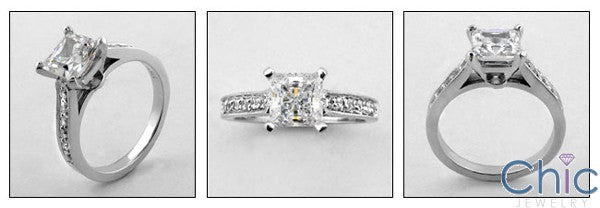 Engagement 1.25 Princess Pave Cubic Zirconia Cz Ring