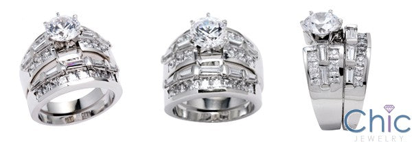 Matching Set 1.5 Round 6 Prongs Channel Fitted Cubic Zirconia Cz Ring
