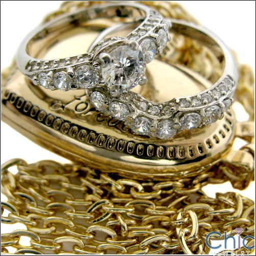 Matching Set Bridal Ring Curved Band 3 TCW Cubic Zirconia Share Prong 14K W Gold