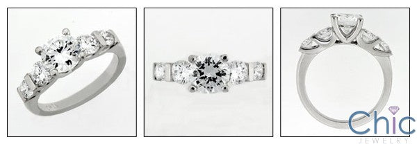 Engagement 1.25 Round Center 5 Stone Channel Cubic Zirconia Cz Ring