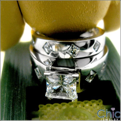 Engagement 1.5 Ct . Princess Center Burnished Princess Cubic Zirconia Cz Ring