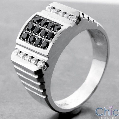 Mens Round Black Stons in Channel Pave Cubic Zirconia CZ Wedding Band