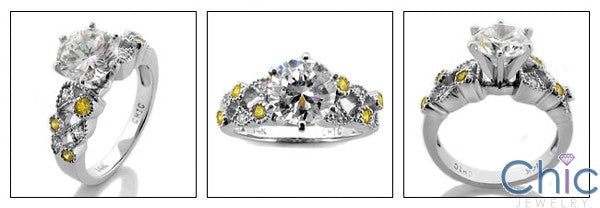 Engagement 1.5 Round Center Canary Bezeled Round Cubic Zirconia Cz Ring
