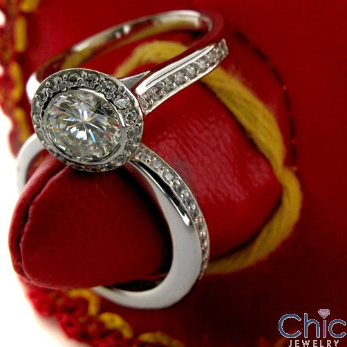 Engagement Round 1 Ct Bezel Set Halo Cubic Zirconia Cz Ring