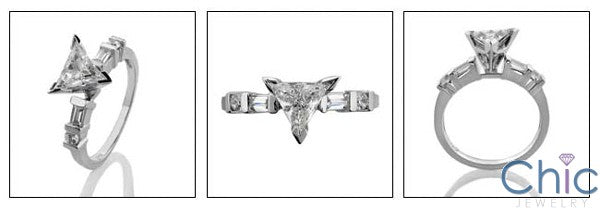 Engagement Triangle 1 Ct Ct channel Cubic Zirconia Cz Ring