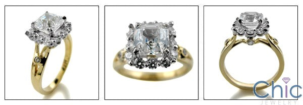 Engagement 1.5 Ct Asscher Two Tone Cubic Zirconia Cz Ring