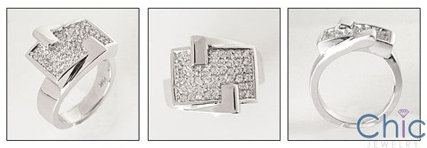 Fine Jewelry Flat Top Pave Cubic Zirconia Cz Ring