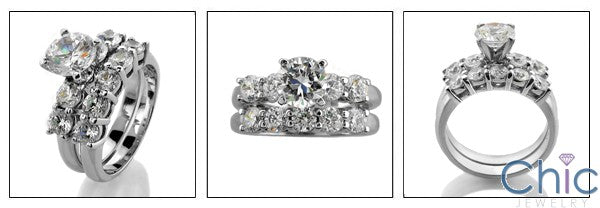 Matching Set 2.8 Round Center Share Prong Cubic Zirconia Cz Ring