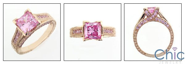 Engagement 1.5 Pink Princess Rose Gold Cubic Zirconia Cz Ring