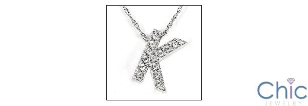 Cubic Zirconia Cz K Letter in Pave Ct 14K White Gold Initial Pendant
