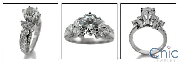 Engagement 1.25 Round Center 6 Prong Tiffany Cubic Zirconia Cz Ring