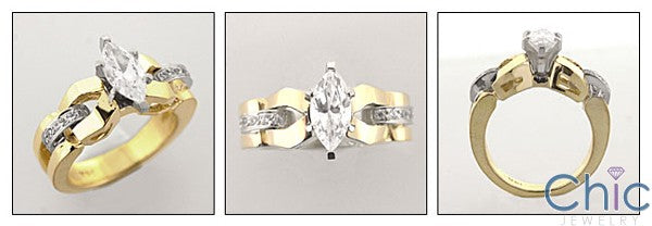 High Quality Cubic Zirconia Marquise 1 Carat Two Tone 14K Gold Engagement Ring