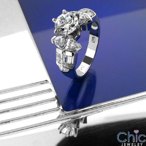 Engagement Round 1 Ct Center Marquise Cubic Zirconia Cz Ring