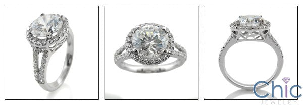 Anniversary 2.5 Round Center Halo Pave Split Shank Cubic Zirconia Cz Ring
