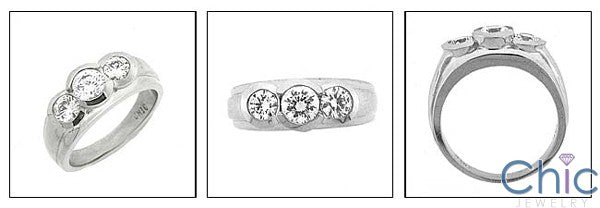 Anniversary 1.2 Total Carat Weight Round Half Bezels Cubic Zirconia 14K White Gold Ring