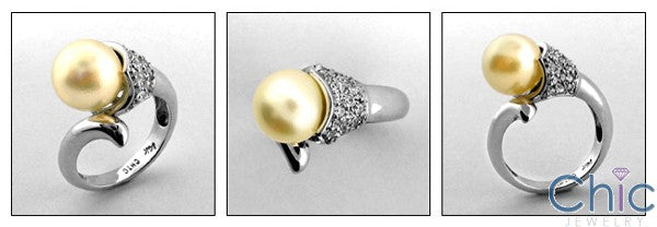 Anniversary Pearl Set Cubic Zirconia Cz Ring