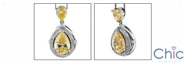 Cubic Zirconia Cz 10.5 Ct Pear Canary Bail Two Tone Pendant