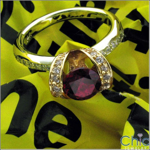 Anniversary Ruby Two Tone Channel Cubic Zirconia Cz Ring
