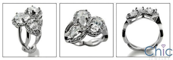 Oval and Pear Cubic Zirconia Halo Pave Anniversary 14k White Gold Cz Ring