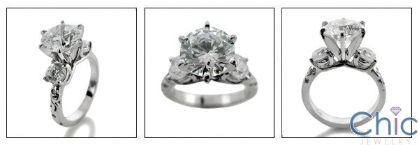 Engagement 2.5 Round Center 1 Ct Round Cubic Zirconia Cz Ring