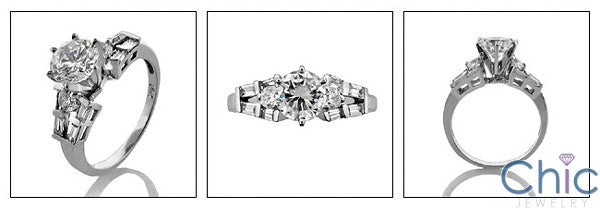 Engagement Round 1 Ct Center Baguettes Cubic Zirconia Cz Ring
