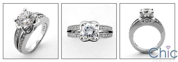 1.5 Round Center Split Pave Cubic Zirconia Engagement Ring 14K White Gold