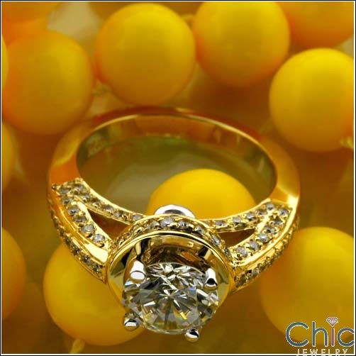 Estate Round 1 Ct Pave set Yellow Gold Cubic Zirconia Cz Ring