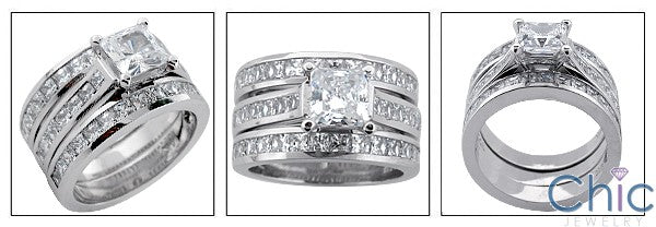 Matching Set 1 Ct Princess Center Channel Wedding Cubic Zirconia Cz Ring