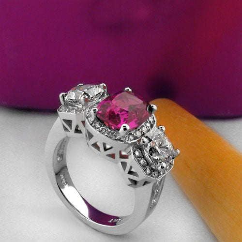 Estate Ruby Cushion Antique Style Cubic Zirconia Cz Ring