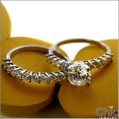 Engagement Round 1 Ct .50 Share Prong Set on Cubic Zirconia Cz Ring