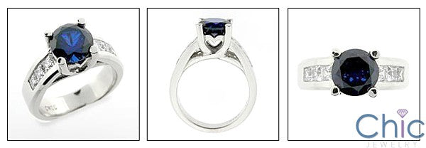 Anniversary Round 2.5 Sapphire Center Channel Cubic Zirconia Cz Ring