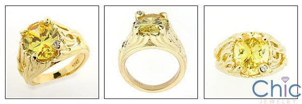 Estate 5 Ct Oval Canary Cubic Zirconia Cz Ring