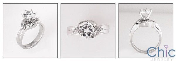 Cubic Zirconia Engagement Ring 1 Carat Round Center Eternity Symbol Pave 14K White Gold