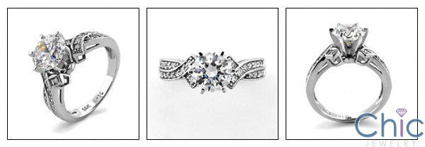 Engagement One Ct a half Ct Round Center CZ pave Cubic Zirconia Cz Ring