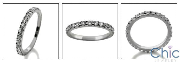 Cubic Zirconia Eternity 1 Carat Total Round Pave Set 14K White Gold Band