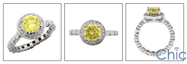 Engagement Round Canary CZ Center Eternity Cubic Zirconia Cz Ring