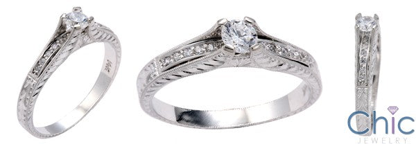 Engagement 0.30 Round HCt Engraved Shank Cubic Zirconia Cz Ring
