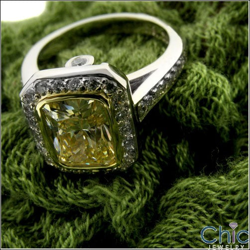 Canary Radiant Cut Cubic Zirconia 2 Carat Bezel Ring in Halo 14k Gold