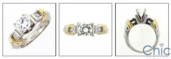 Estate Engraved shank Two tone Bars Cubic Zirconia Cz Ring