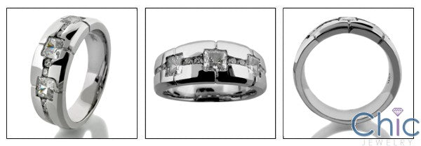 Mens .75 TCW Princess in Channel Cubic Zirconia CZ Wedding Band