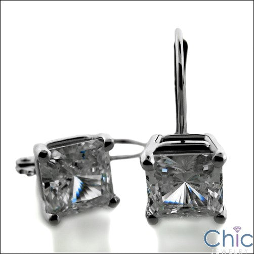 Princess Lever back Cubic Zirconia CZ Earrings