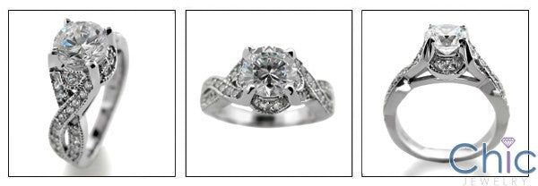 Engagement 1.25 Round Center Pave Cubic Zirconia Cz Ring