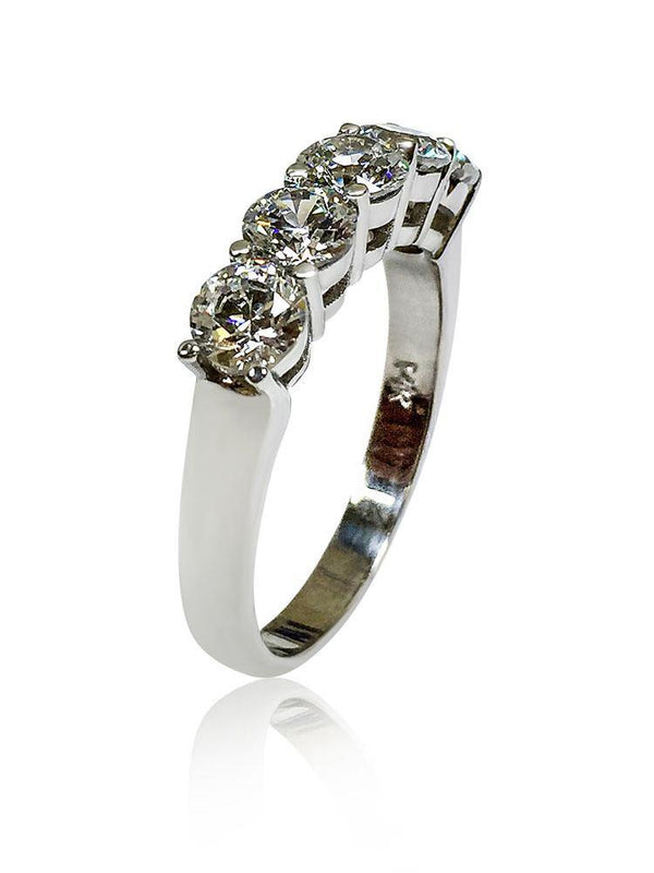 5 Round Stone Share Prong Cubic Zirconia Wedding Band 14K W Gold